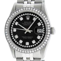 Rolex Mens Stainless Steel Black String Diamond 36MM Datejust Wristwatch