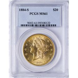 1884-S $20 Liberty Head Double Eagle Gold Coin PCGS MS61