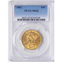 1882 $10 Liberty Head Eagle Gold Coin PCGS MS62