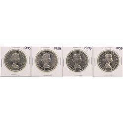 Lot of (4) 1958 Canada $1 Silver Dollar Coins