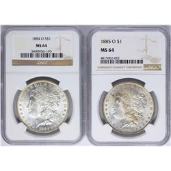 Lot of 1884-O & 1885-O $1 Morgan Silver Dollar Coins NGC MS64
