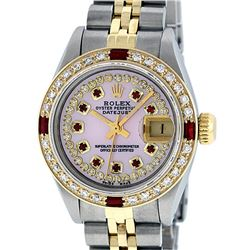 Rolex Ladies Two Tone 14K Pink MOP Diamond & String Ruby Datejust Wristwatch