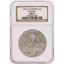 1996-D $1 Olympics Rowing Commemorative Silver Dollar Coin NGC MS67