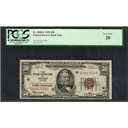 1929 $50 Federal Bank of Chicago Note Fr.1880-G PMG Very Fine 20