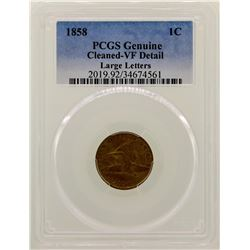 1858 Large Letters Flying Cent Coin PCGS VF Details