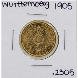 1905 German Wurttemberg 20 Marks Gold Coin