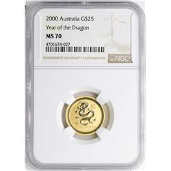 2000 $25 Australia Year of the Dragon Gold Coin NGC MS70
