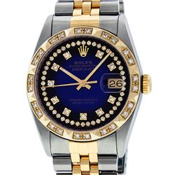 Rolex Mens Two Tone 14K Blue Vignette String Pyramid Diamond Datejust Watch