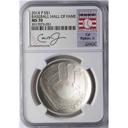 2014-P $1 Baseball Hall of Fame Coin NGC MS70 Cal Ripken Jr.