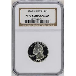 1994-S Washington Silver Proof Quarter Coin NGC PF70 Ultra Cameo