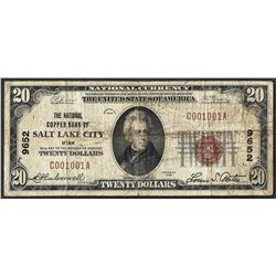 1929 $20 Salt Lake City Utah National Currency Note CH #9652