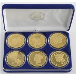 Lot (6) Coins 1849 Double 'Eagle Proof' Gold Clad