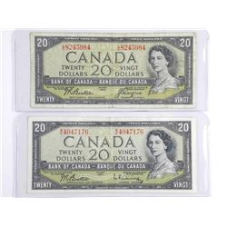 Lot (2) 1954 20.00 Notes. Modified Portrait, 2 Sig