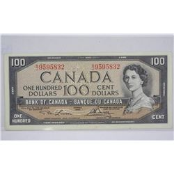 Bank of Canada 1954 One Hundred Dollar Note. L/B
