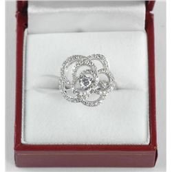 Ladies .925 Silver Swarovski Element Cluster Ring.