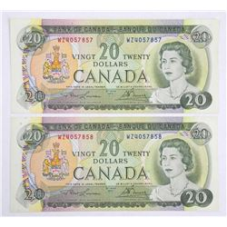 Lot (2) Bank of Canada $20.00 1969 2 In Sequence B