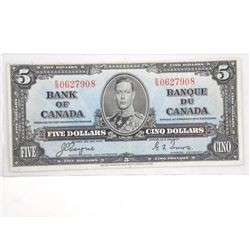 Bank of Canada 1937 Five Dollar Note (VF) BC 23c