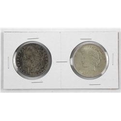 Lot (2) USA Silver Dollars: 1896 and1922