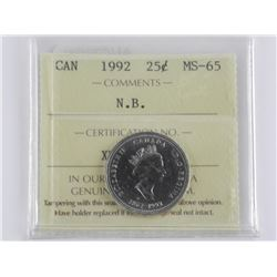 Canada 1992 - 25 Cent MS-65 ICCS - 'N.B.'