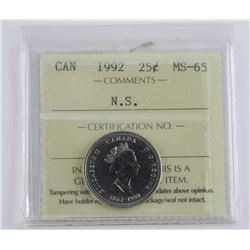 Canada 1992 - 25 Cent MS-65 ICCS - 'N.S.'