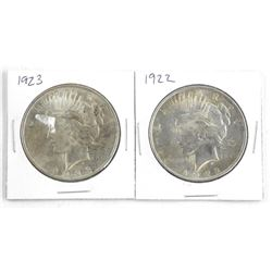 Lot (2) 1922 and 1923 US Silver Dollar