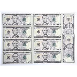 Lot (10) USA Series 2013 Five Dollar Notes - Choic