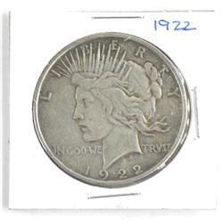 1922 Silver US Peace Dollar.