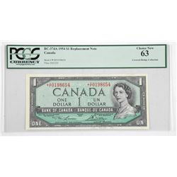 Bank of Canada 1954 Modified Portrait * Replacement 1.00 CB Collection PCGS UNC 63.