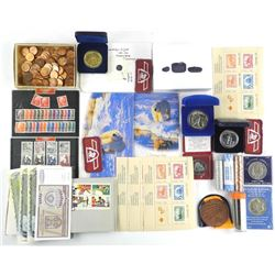 Estate - BIN LOT Mixed Coins - Stamps - Notes