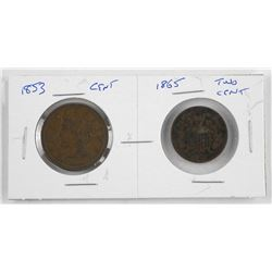 Lot (2) USA 1853 Cent and 1865 Two Cent Coins