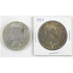 Lot (2) USA Silver Peace Dollars 1923 and 1925