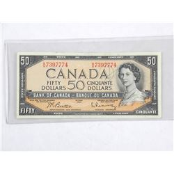 Bank of Canada 1954 Fifty Dollar Note. Modified Portrait. B/R