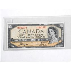 Bank of Canada 1954 Fifty Dollar Note. Devil's Face. C/T