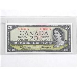 Bank of Canada 1954 Twenty Dollar Note. Devil's Face. B/C