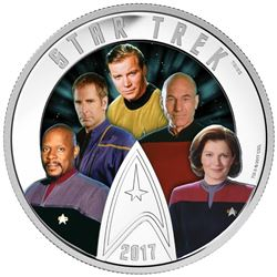 Estate .9999 Fine Silver $30.00 Coin 'Star Trek - 5 Captains'