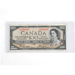 Bank of Canada 1954 One Hundred Dollar Note. Devil's face. BC35b (VG) B/C