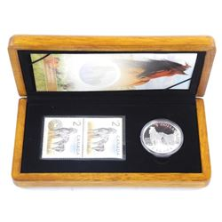 Horse and Foal LE Stamp and Coin Set .9999 Fine Silver $5.00 and Stamp Set