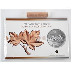 .9999 Fine Silver $20.00 Coin with Display Folio, Plus a Roll From Final Run 2012 One Cent