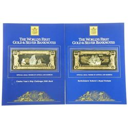 Lot (2) Worlds First Gold and Silver Banknotes. 100.00 each