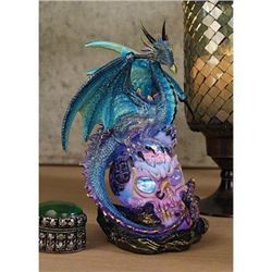Design Toscano Dragon Assassin on Skull Gothic Decor Statue Figurine- 7 Inch- Polyresin with Color C