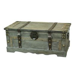 Vintiquewise QI003272L Rustic Gray Large Wooden Storage Trunk
