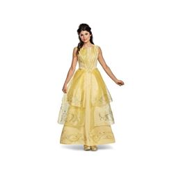 Disney Women's Belle Ball Gown Deluxe Adult Costume- Yellow- Medium