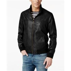 Tommy Hilfiger Men's Smooth Lamb Touch Faux Leather Unfilled Bomber- Black- L