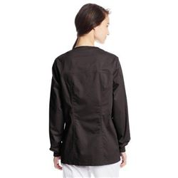 Cherokee Women's Workwear Scrubs Core Stretch Zip Front Warm Up Jacket- Black- X-Large