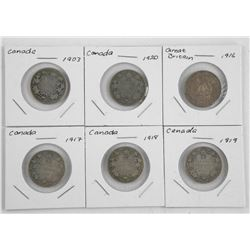 Lot (6) Canada Silver 25 Cent. early 1900s