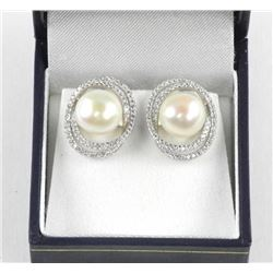 925 Silver Custom Freshwater Pearl Earring with Sw