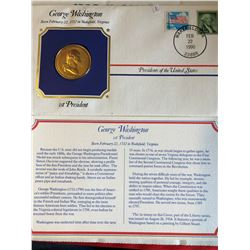 President Medals Cover Collection 1990 GEORGE WASHINGTON with Stamps