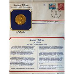 President Medals Cover Collection 1990 THOMAS JEFFERSON with Stamps