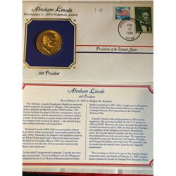 President Medals Cover Collection 1990 ABRAHAM LINCOLN with Stamps