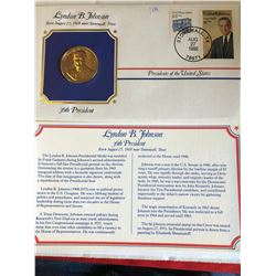 President Medals Cover Collection 1992 LYNDON B JOHNSON with Stamps